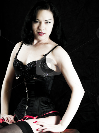 Asian Beauty stock photo, Beautiful asian woman in a corset by Cora Reed