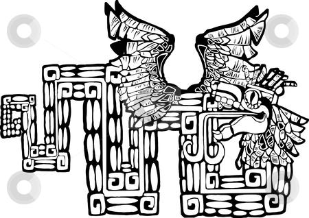 Black and White Mayan Kukulcan Image stock vector clipart, Black and White Mayan Kukulcan Image possible tattoo. by Jeffrey Thompson