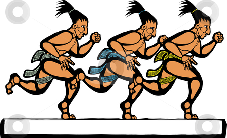 Mayan Runners stock vector clipart, Mayan men running in a group of three. by Jeffrey Thompson