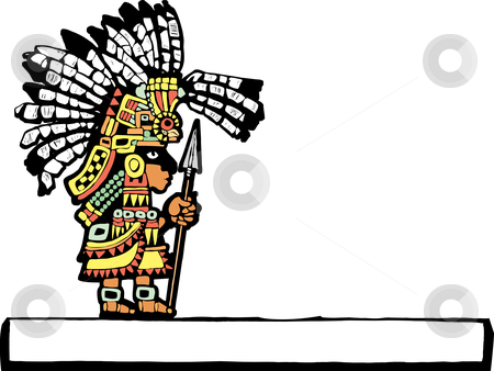Teotihuacan Warrior  stock vector clipart, Teotihuacan Warrior rendered in temple mural style. by Jeffrey Thompson
