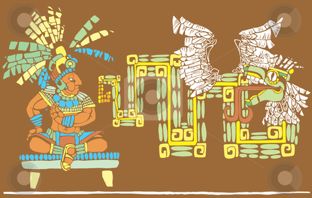 Mayan King and Kukulcan stock vector clipart, Mayan King in full regalia and Kulkulcan by Jeffrey Thompson