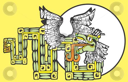 Color Mayan Kukulcan vector stock vector clipart, Color Mayan Kukulcan Image with circle motif. by Jeffrey Thompson