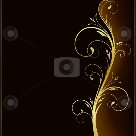 Elegant dark background with golden floral   design elements stock vector clipart, Dark brown square background with golden   scrolls on the right hand side. Use of 6 global colors,   linear gradients, blend. by Ina Wendrock