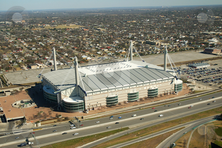 Alamodome Aerial View stock photo, Aerial view of the Alamodome sports arena. by Charles Buegeler