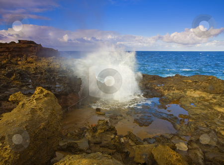 Nakalele Explosion stock photo, Nakalele Blowhole erupting on a July afternoon just before the sun sets on Maui, Hawaii by Mike Dawson