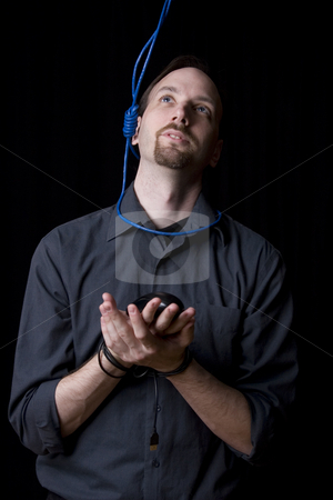 Suicidal technician stock photo, Computer technician with tied hands and hangman noeuce around his neck looking up by Yann Poirier