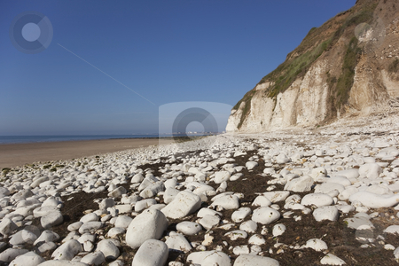Seascape stock photo, Looking across the bay to bridlington from the chalk cliffs of danes dyke by Mike Smith