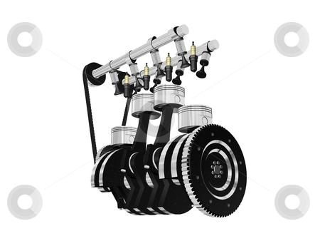 Engine stock photo, Engine render, isolated on white. by vrcraft