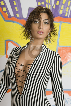 Graffiti fashion model stock photo, Portrait of a twenty something libanese fashion model in front of hip hop inspired graffiti by Yann Poirier