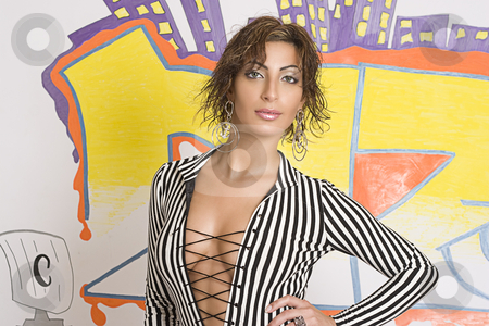 Graffiti fashion model stock photo, Portrait of a twenty something libanese fashion model in front of hip hop inspired graffiti by Yann Poirier