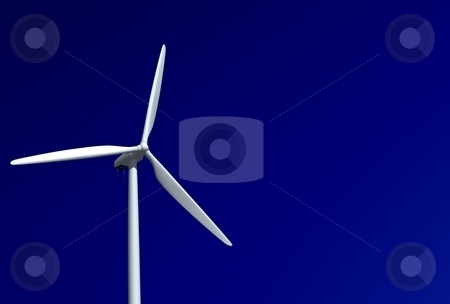 Wind turbine isolated stock photo, Isolated wind turbine, on a clear sky. by vrcraft