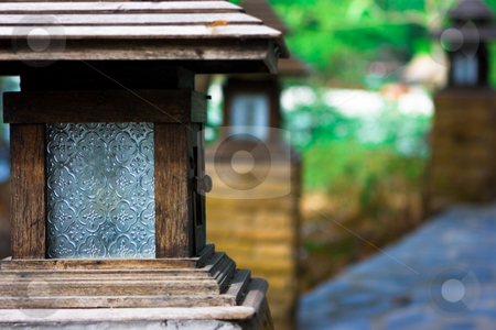 Decorative wood lamp stock photo, Decorative handmade wood lamp in the park by Dmitry Rostovtsev