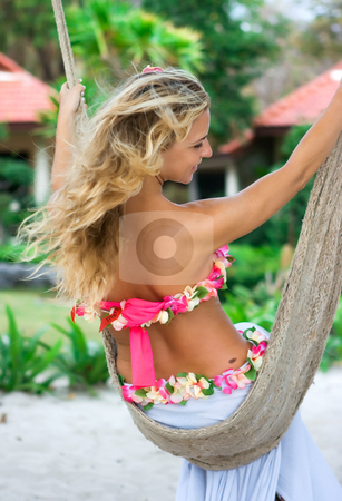 Rope swings stock photo, Blonde girl sitting on rope swings by Dmitry Rostovtsev