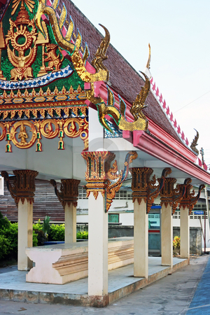 Buddhist temple stock photo, Beautiful buddhist marble temple in Pattaya Thailand by Dmitry Rostovtsev