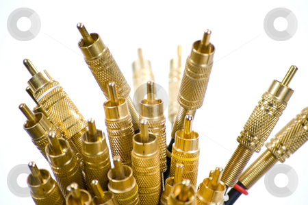 RCA Bundle III stock photo, A close-up of a bundle of gold plated RCA jacks pointing upwards on a white background. by Stewart Behra