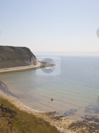 View from a cliff top stock photo, A view from a cliff top looking towards the sea on a summer day by Mike Smith