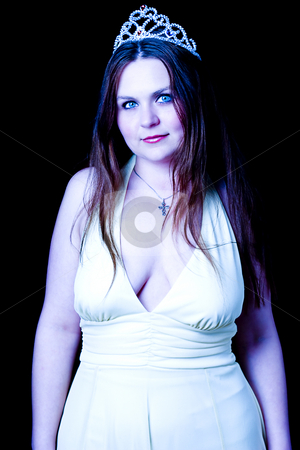 Prom queen stock photo, Prom queen in yellow evening dress with v shape cleavage line by Yann Poirier