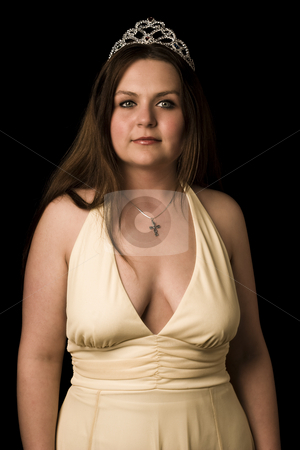 Prom queen stock photo, Prom queen in yellow evening dress with v shape cleavage line in sepia effect by Yann Poirier