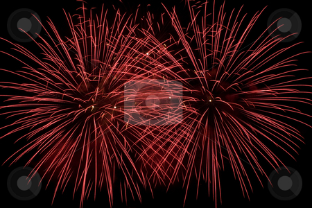 Firework flower stock photo, Frame fill with two red firework flowers by Yann Poirier