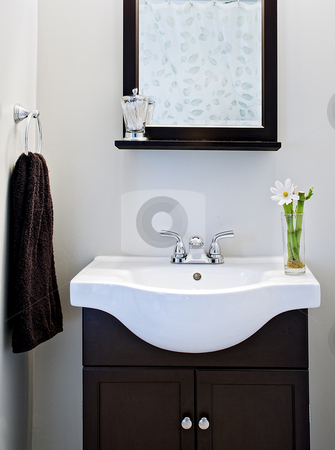Black and white designer bathroom with mirror and flower stock photo, Black and white designer bathroom with mirror and flower by Vincent Demers