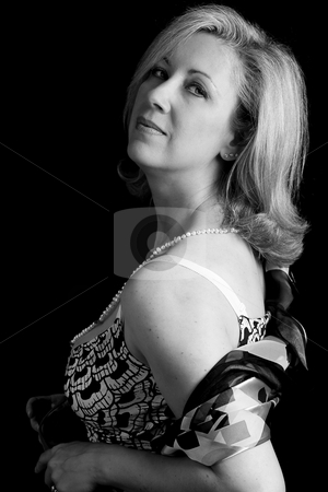 Women in her fifties in black and white stock photo, Women in her early fifties with classic Audrey Hepburn look, in black and white by Yann Poirier