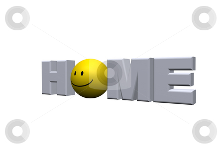 Home stock photo, The word home with a smiley - 3d illustration by J?