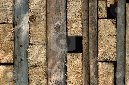 Old wood pattern stock photo, Texture of dirty old wood pieces in rectangles by Wino Evertz
