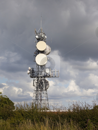 Communications mast stock photo, A communications mast on a hillside by Mike Smith