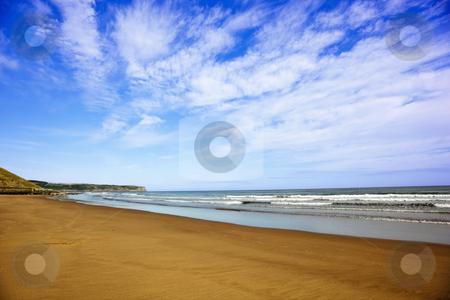 Sand sea and sky stock photo, Sand sea and sky on the east coast of england by Mike Smith