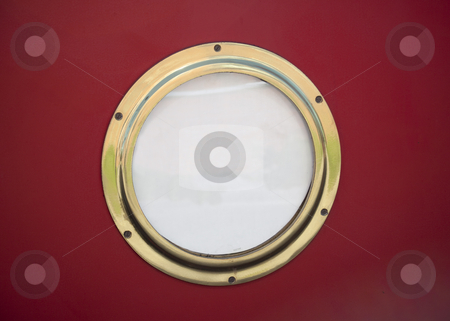 Canal boat porthole stock photo, Porthole on old canal boat by Mike Smith