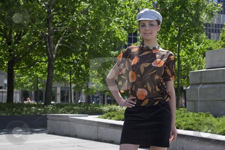 Posing in a park stock photo, Teen girl posing in a park by Yann Poirier