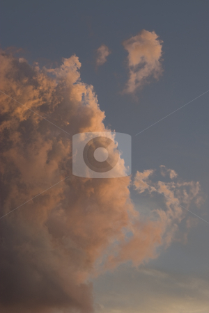 Thunderstorm moving in stock photo, Thunderstorm clouds moving in the sky by sunset by Yann Poirier