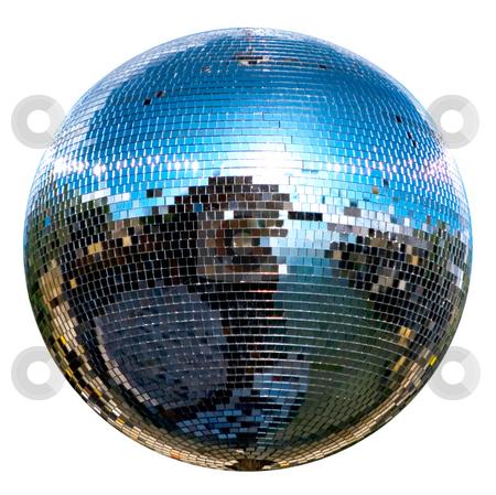 Disco ball stock photo, Spinning disco ball isolated on white by Desislava Dimitrova