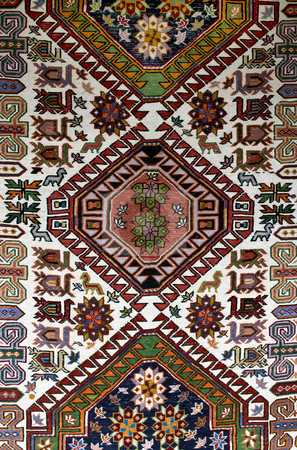 Rug stock photo, Colorful old style bulgarian rug closeup by Desislava Dimitrova