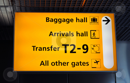 Airport terminal sign stock photo, Airport sign: baggage, transfer and gates. Amsterdam Schiphol. by Fernando Barozza