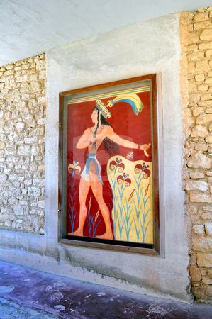 Ancient ruins and frescos at the Knossos Palace in Crete stock photo, Travel photography: Archaeological site of Knossos. Minoan Palace. Greece. by Fernando Barozza