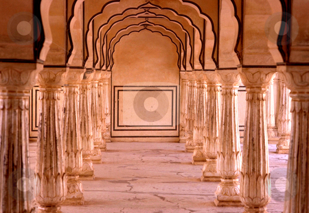 Amber Palace stock photo, India, Rajahstan, Jaipur, A Chamber of Columns in the Amber Palace by David Ryan