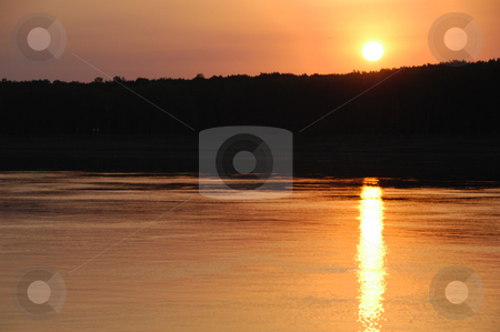 Danube Sunset stock photo, Romania, Sunset on the Danube River by David Ryan