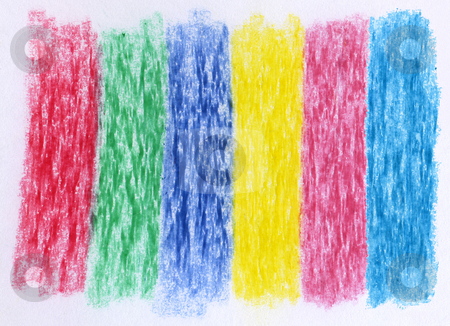 Primary and secondary colors in crayon on white paper. stock photo, Primary and secondary colors in crayon on white paper. by Stephen Rees