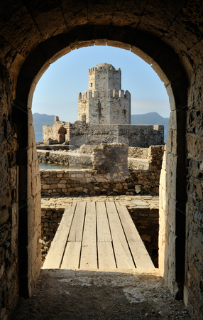 Watchtower of the castle at Methoni stock photo, The watchtower of the castle at Methoni, southern Greece, framed by a castle gate by Andreas Karelias
