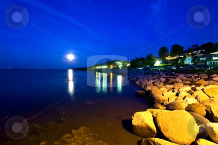Swedish Coastline stock photo, Moonrise over the South Swedish coastline in Skane by Corepics VOF