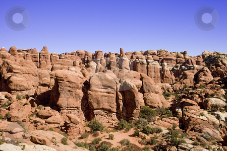 Rock formation stock photo, Hoodoos in the Arches National Park by Sharron Schiefelbein