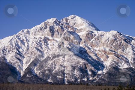 Mountain in Jasper Alberta stock photo, Clear blue sky with a Mountain in Jasper behind by Sharron Schiefelbein