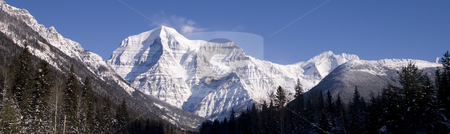 Panoramic view of Mountain Robson stock photo, A beautiful view of Mountain Robson by Sharron Schiefelbein