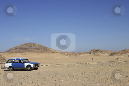 Taxi in the Sinai Desert stock photo, Egyptian car in the Sinai Desert by Sharron Schiefelbein