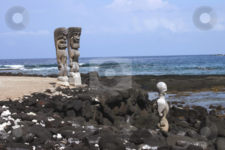 Idols looking for sacrifice stock photo, Three Idols over looking the beach on the Big Island of Hawaii by Sharron Schiefelbein