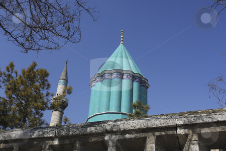 Mevlana Museum in Konya Turkey stock photo, A spirituality museum of Mevlana Museum has a beautiful green dome above the Mosque in Konya Turkey by Sharron Schiefelbein
