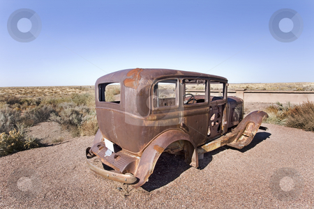 Old car stock photo, An old car left in desert by Sharron Schiefelbein