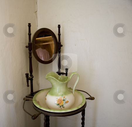 224 Antique wash basin stock photo, Old wash basin on an antique stand in an old house by Sharron Schiefelbein