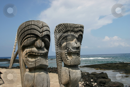 Artifacts on the Big Island of Hawaii stock photo, Idols on beach by Sharron Schiefelbein